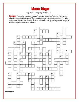 Maniac Magee: Figurative Language Crossword—Creative!