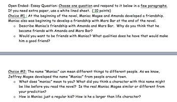 Maniac Magee Final Test/ Assessment