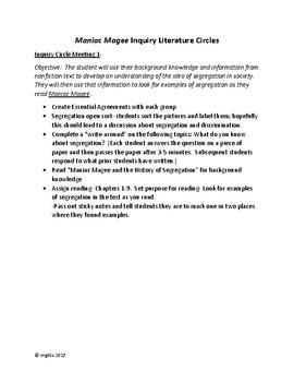 Maniac Magee Inquiry Literature Circle Lesson Plans