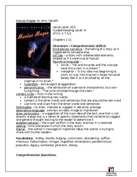 Maniac Magee Integrated Novel Study