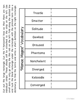 Maniac Magee Interactive Notebook Novel Unit Study Activities, Vocabulary