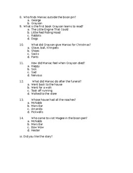 Maniac Magee Multiple Choice Assessment