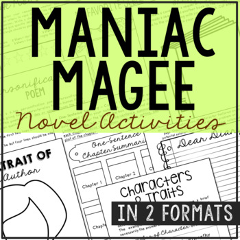 Maniac Magee Novel Unit Study Activities, Book Companion Worksheets, Project