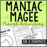 Maniac Magee Novel Study Unit Activities, In 2 Formats
