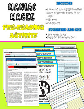 Maniac Magee Pre-Reading Center Activity (Common-Core Aligned)