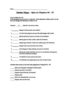 Maniac Magee Quizzes