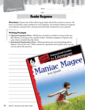 Maniac Magee Reader Response Writing Prompts (eLesson)