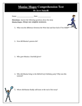 Maniac Magee Novel Unit Quiz