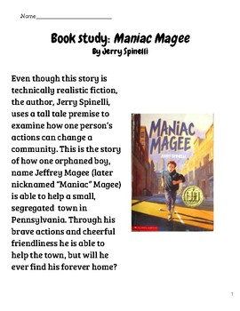 Maniac Magee Reading Packet