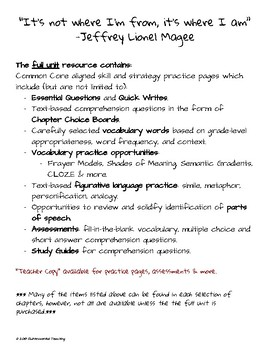 Maniac Magee: Reading & Writing Resource for Chapters 16 - 21