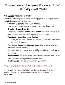 Maniac Magee: Reading & Writing Resource for Chapters 33 - 37