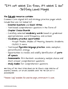 Maniac Magee: Reading & Writing Resource for Chapters 7 - 15