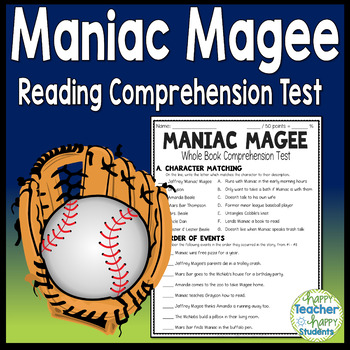 Maniac Magee Test: Final Book Test with Answer Key