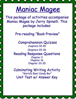 Maniac Magee Test and Comprehension Quizzes