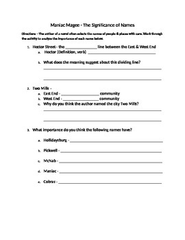 Maniac Magee - The Importance of Names (Focus Project)