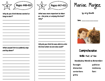 Maniac Magee Trifold - Storytown 6th Grade Unit 4 Week 2