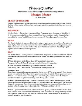 Maniac Magee Trivia Game: 130 Questions—Fun for the Whole Class!