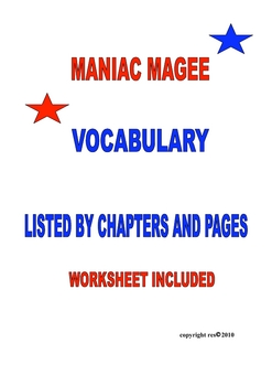 Maniac Magee Vocabulary