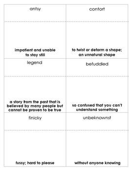 Maniac Magee Vocabulary Bingo