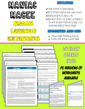 Maniac Magee and Urban Legends (Common Core Aligned)