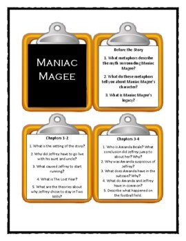 Jerry Spinelli MANIAC MAGEE - Discussion Cards