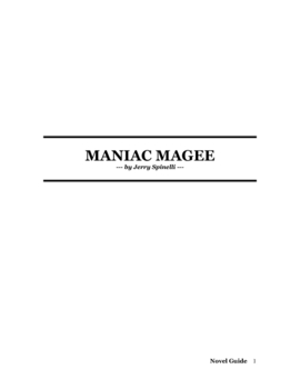 Maniac Magee by Jerry Spinelli Novel Guide