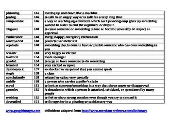 Maniac Magee vocabulary defined/answer key