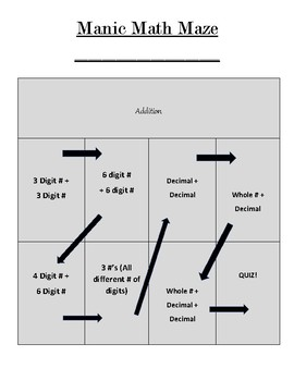 Manic Math Maze (Addition)
