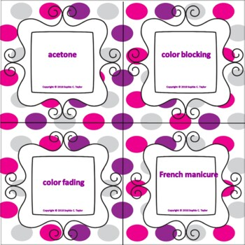 Cosmetology Manicuring Word Wall