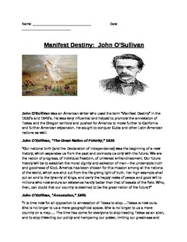 Manifest Destiny: John O'Sullivan quotes and questions (homework or do now)
