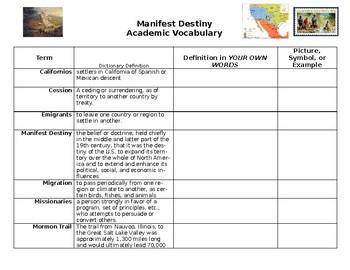 Manifest Destiny Academic Vocabulary