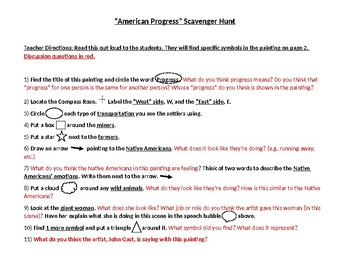 "Manifest Destiny ""American Progress"" Scavenger Hunt Activity"