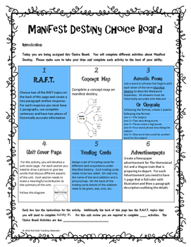 Manifest Destiny Choice Board