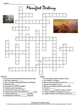 Manifest Destiny Crossword Puzzle Worksheet