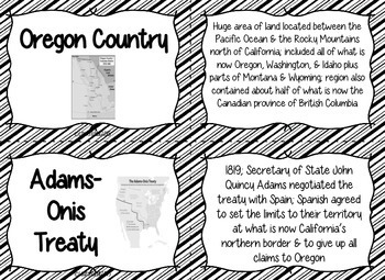 Manifest Destiny Flash Cards - Black and White