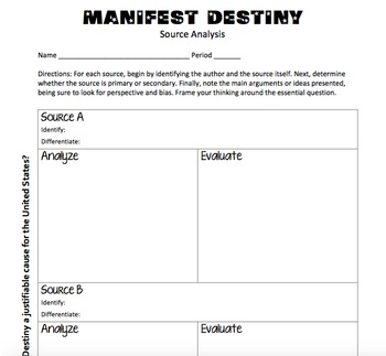 Manifest Destiny - Indian Removal Act Source Analysis by jamiesonteach