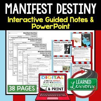 Manifest Destiny Interactive Guided Notes and PowerPoints American History
