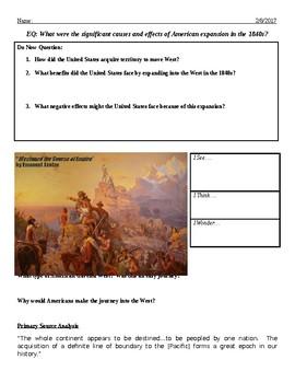 Manifest Destiny Lesson in a Worksheet