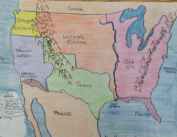 Manifest Destiny Map - Leveled Geography Activity