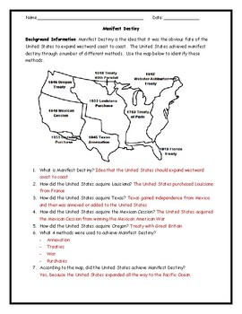 Manifest Destiny Map Worksheet with Answer Key