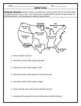 Manifest Destiny Map Teaching Resources | Teachers Pay Teachers