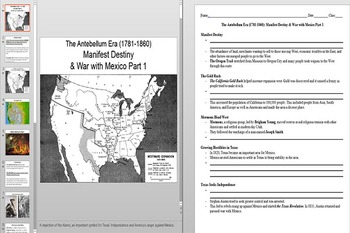 Manifest Destiny Powerpoint and Notes Worksheets