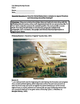 Manifest Destiny Primary Source Packet and Document Based Question Essay