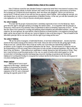 Manifest Destiny Primary Source and Image Analysis