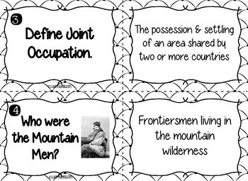 Manifest Destiny Task Cards - Black and White