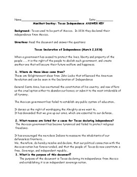 Manifest Destiny Texas Independence Adapted Primary Source Worksheet with Key