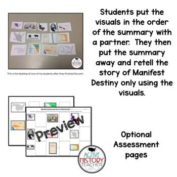 Manifest Destiny/U.S. Mexican War - Visual Summary Picture Sort  (baggies)