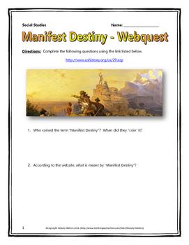 Manifest Destiny - Webquest with Key (History.com) by History Matters