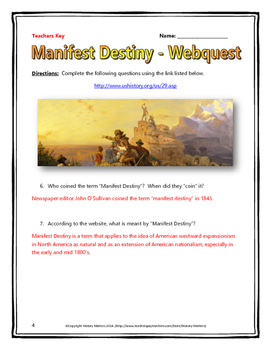 Manifest Destiny - Webquest with Key (History.com)