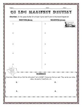 Manifest Destiny / Westward Expansion Graphic Organizer